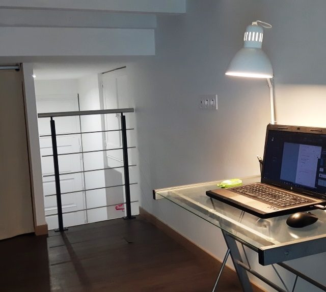 République appartement T1bis meublé professionnel 70m² à Sathonay Camp avec bureau en mezzanine